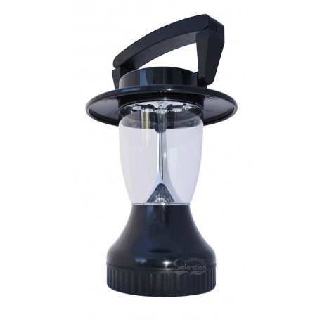Solar Powered Camping Black Lantern with Hand Crank: 1 unit/Package
