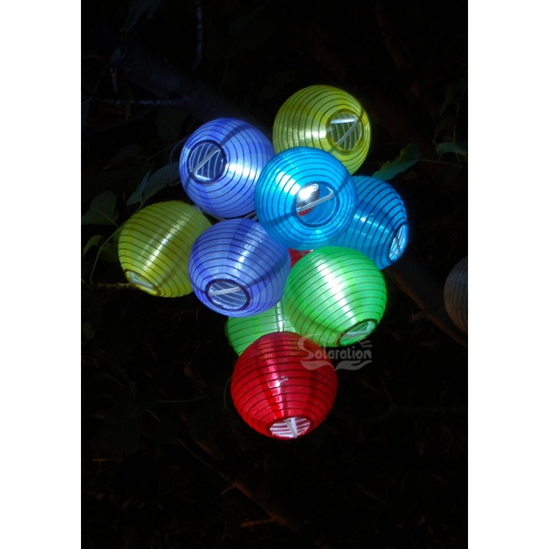 String Lights With Fabric : 10 LED Color Fabric Lanterns Solar String Lights: 20 units/Case - Solar Wholesale Direct