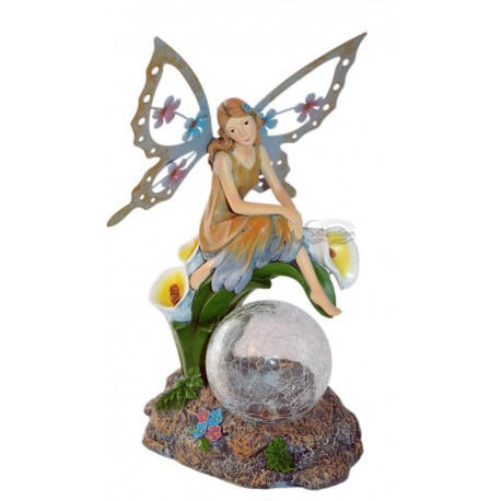 Fairy on Calla Lily Crackle Glass Ball Solar Figurine Light: 8 units/Case