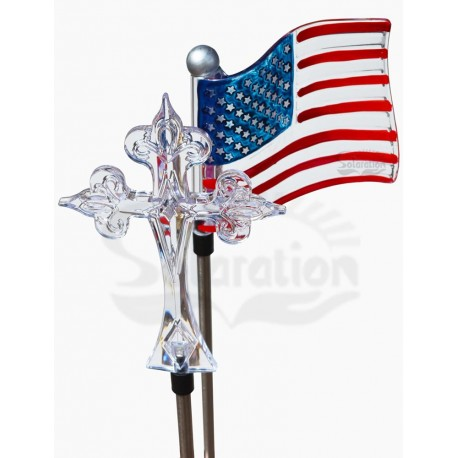 Cross and Flag Solar Garden Lights: 24 units/Case
