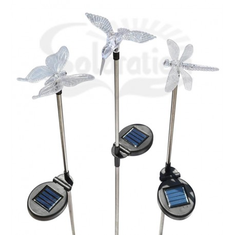 Hummingbird, Butterfly & Dragonfly Solar Silver Stake Lights, 3 units/Package