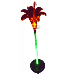 Lily Flower with Green-lit Stem Solar Garden Light: 12 units/Case