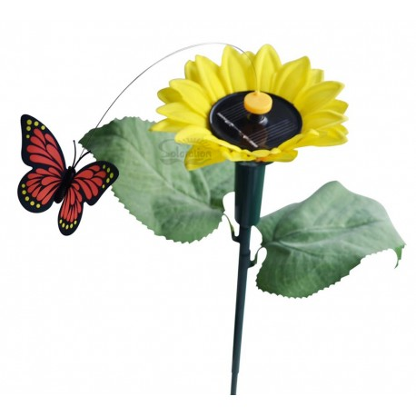 Solar or Battery Powered Fluttering Butterfly with Sunflower Yard Stake: 72 units/Case