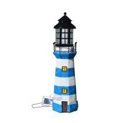 """39"""" Tall Lighthouse Solar Statue with Ivory/Blue stripe, 1 unit/Case"""