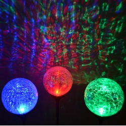 "Christmas Red,Green,Blue LED 3.5"" Dia. Crackle Glass Ball Solar Lights: 3 units/Package"