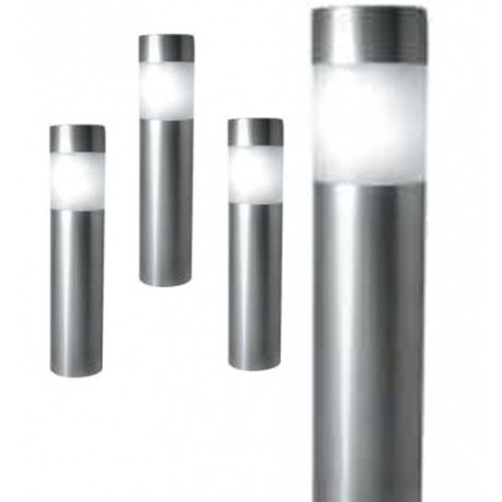 """A pack of Four 10.5"""" Tall Stainless Steel Solar Bollard Lights: 48 units/Case"""