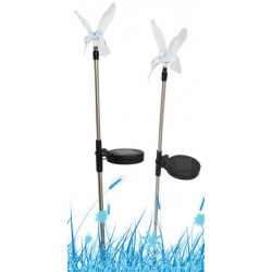 A Pack of Two Hummingbird Solar Garden Stake Lights: 24 units/Case