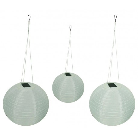 "A Pack of Three 12"" Diameter Fabric Shoji Solar Lanterns : 24 units/Case"