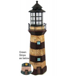 """39"""" Tall Lighthouse Solar Light Statue with Ivory/Green Stripe: 1 unit/Case"""